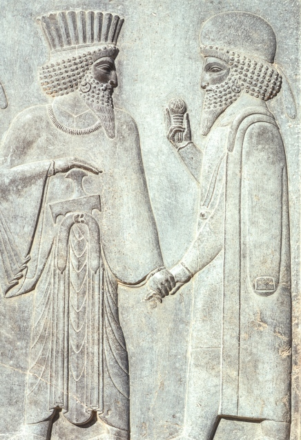 Stone relief carving of a Persian and a Mede, Persepolis.