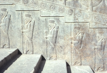 Stone relief carving of Persian Guards, Persepolis.