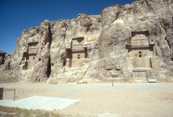 The tombs of (left to right) Artexerxes I, Xerxes I and Darius I, Naqsh-I-Rustam.
